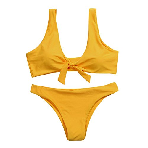 OverDose Frauen verknotet Padded Thong Bikini Mitte Taille Scoop Damen Badeanzug Bademode Strand Kleidung(A-Yellow ,M)