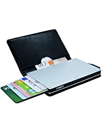 SARKO Wallet | RFID Blocking Wallet Aluminium Credit Card Holder in Black Leather. Ultra Thin Small Card Protector Takes Less Space. Automatic Pop-up Card Case Comes in an Attractive Gift Box.