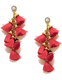 Pipa Bella Red Threads Drop Earrings for Women