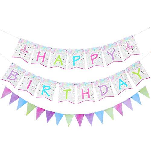 Wernnsai happy birthday striscioni bandierina - forniture per feste per unicorno set per ragazze bambini compleanno baby shower festa a tema unicorno decorazione 31 pezzi