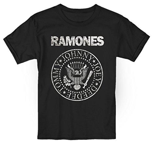 LaMAGLIERIA Camiseta Niño Ramones Grunge Texture - t-Shirt Kids Rocker Algodòn, 5-6 Años, Negro