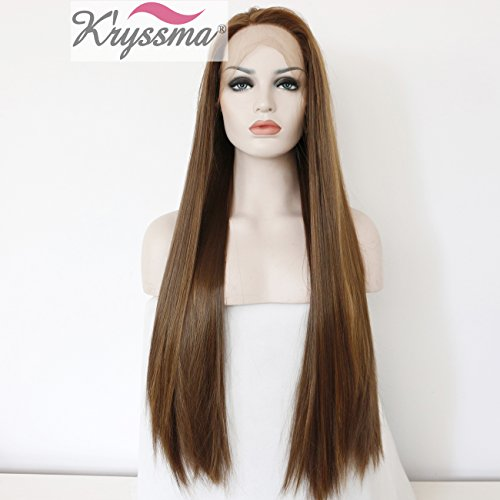 K'ryssma Long Straight Synthetic Hair Highlights Brown Glueless Lace Front Wigs For Women Heat Resistant 24 Inches