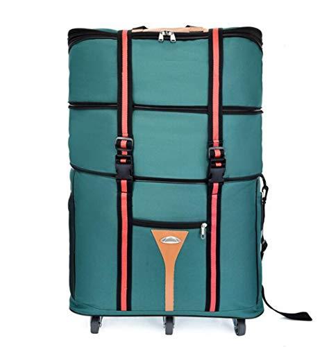 ZXY 3 Stockwerke hoch Reisetasche,Wasserdicht Erweiterbar Rollenreisetasche 60L,Grün