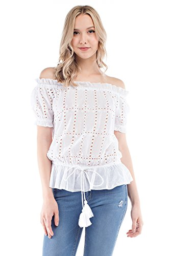 Solitaire Eyelet Off-Shoulder Top (Large) - Eyelet Tunic Top