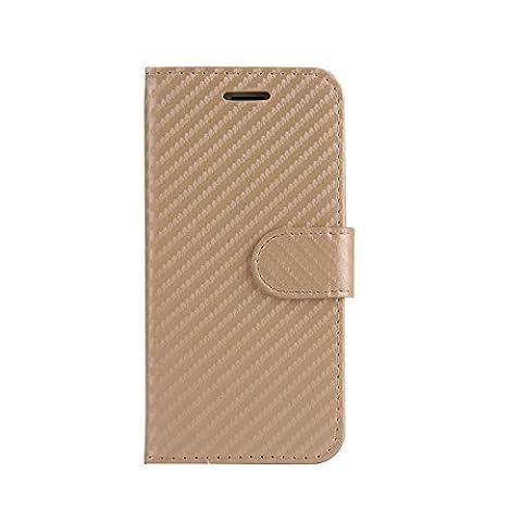 ARTLU® (Or en fibre de carbone Wallet) For iphone 7 plus (5.5) étui Cover Case Carbon Fiber BookStyle PU cuir Wallet flip avec le Crédit couverture de peau Slot / carte de débit Avec écran Wallet Portefeuille Support avec Porte-cartes pour iphone 7 plus (5.5)