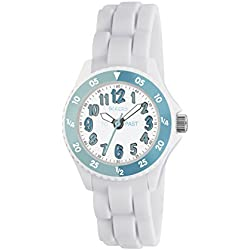 Tikkers Girl's Quartz Watch with White Dial Time Teacher Display and White Silicone Strap TK0118