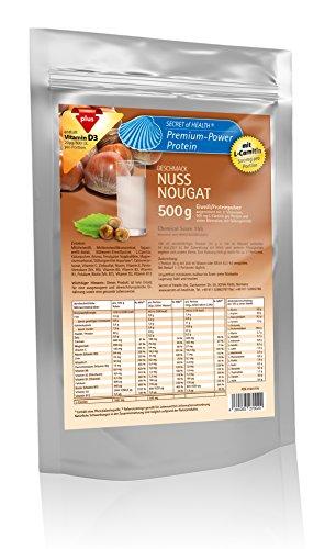 Premium Power Eiweiss Nuss-Nougat 500 g mit L-Carnitin, Chemical Score von 155, Zink und Vitamin D
