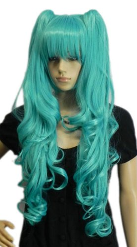 Qiyun Vocaloid Hatsune Miku Boucle Ponytails Clair Bleu Girl Partie Cosplay Anime Costume Perruque Ondule