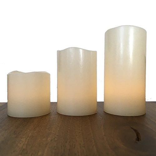 ✅ 3 LED Kerzen aus Echtwachs | Wachs Kerzen klein mit GRATIS Batterien | Täuschend echte flackernde Flamme für gemütliche Wintertage