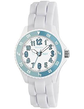 Tikkers TK0118, Mädchen-Quarzuhr mit weißem Zifferblatt, Umrandung mit Zeitmarkierungen und weißem Silikon-Armband.