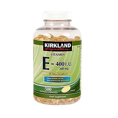 Kirkland Vitamin E-400 I.U 268mg dl-Alpha Tocopherol 500 Softgel Capsules from Kirkland Vitamina E-400 dl-alfa tocoferol UI 268 mg 500 Cápsulas Softgel