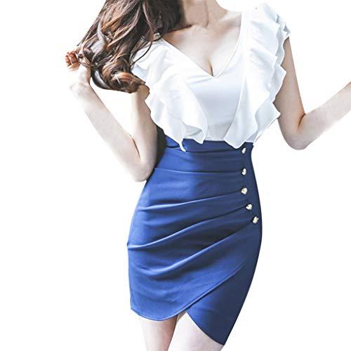 BHYDRY Mode Frauen Sexy V-Ausschnitt Rüschen Button Split Bodycon Chiffon Minikleid (Large,Blau) -