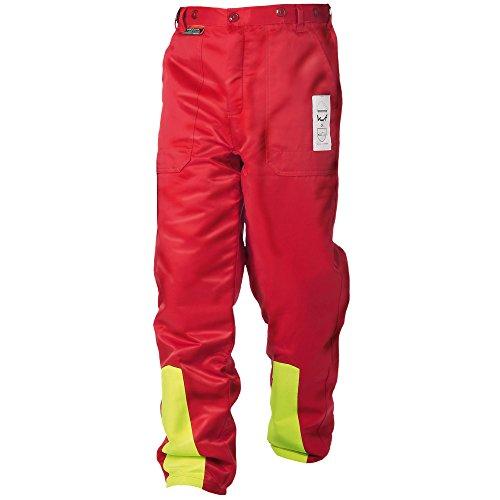 WOODSafe® Schnittschutzhose Klasse 1, Forsthose, kwf-geprüft, Bundhose rot/gelb, Herren - Waldarbeiterhose mit Schnittschutz Form A, leichtes Gewicht (50)