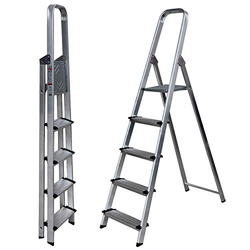Escalera de Tijera de Aluminio Peldaño Ancho 12 cm 5 Peldaños con Ancho 12 cm