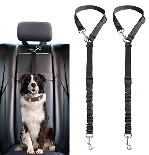 Mkouo Dog Seat Belt, 2er Pack Einstellbar Durable Headrest Seatbelt Haustier Hund Auto Safety Harness Fessel mit Elastic Nylon Bungee Buffer Fahrzeuge Travel Daily Use, Black (Belt-packs)