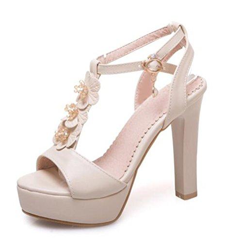 Easemax Damen Modern Peep Toe High Heels Blume Sandalen Pumps mit Knöchelriemen Beige 42 EU