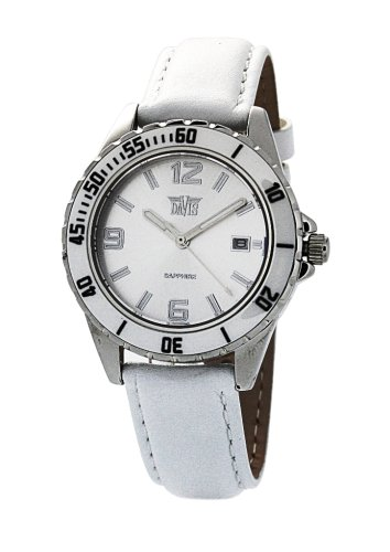 Davis 'Elegance' Women's Analog Quartz Watch with Ceramic Bezel and Leather Strap - 1456