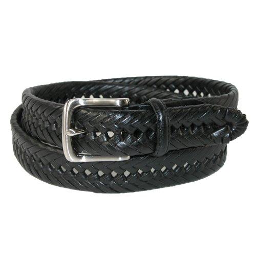 Tommy Hilfiger Pour des hommes Bruni cuir 32mm main lacé ceinture (Pack de 2) noir et beige