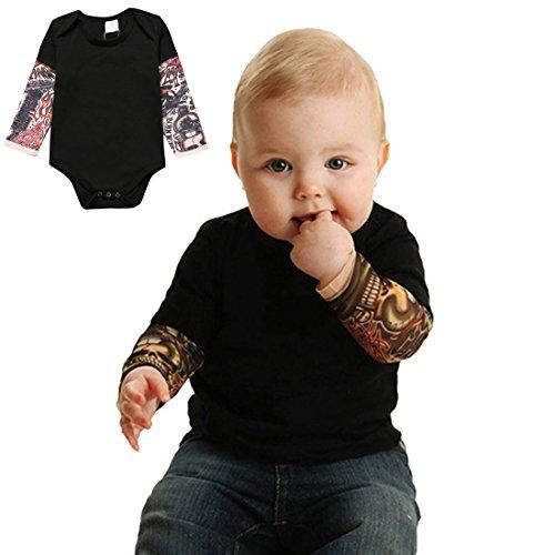 PAUBOLI Einteiler für Jungen, Tattoo-Ärmel, 3-24 Monate, Grau/Schwarz Gr. 6-12 Monate, Schwarz (Baby Biker Kostüm)