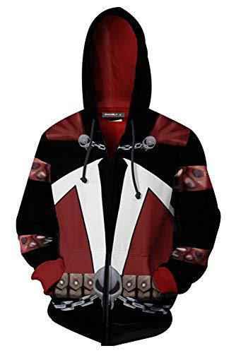 Spawn Kostüm - MingoTor Herren Damen Spawn Kapuzenjacke 3D Pullover mit Kapuze Sweatjacke Hoodie Cosplay Kostüm Unisex