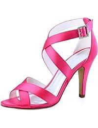 191403ec93ec5 Elegantpark HP1705 Femmes Peep Toe Sandales à Lanières à Talons Hauts  Stiletto Boucle Satin Chaussures de