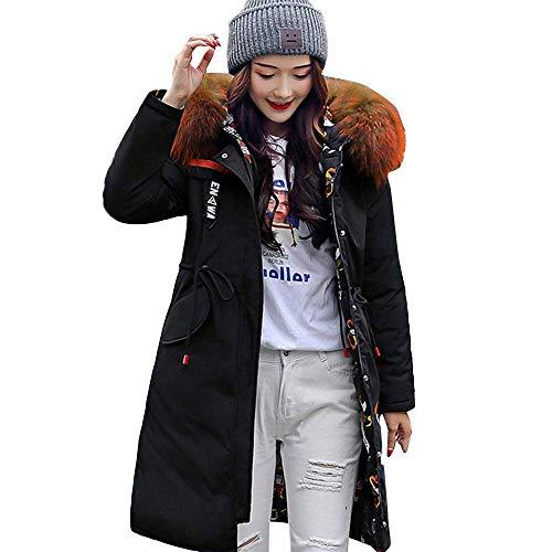 Damen Mantel Outwear Jacke Parka Oberbekleidung Lässige Frauen Freizeitjacke Mit Kapuze Beide Seiten Tragen Brief Lange Jacken Pocket (Farbe : Schwarz, Größe : M)