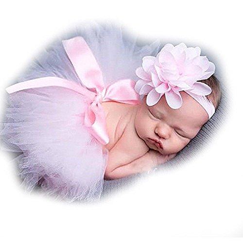 ZILucky Newborn Shooting Accessoire Outfits Baby Prinzessin Kostüm Tütü Rock Pettiskirt Mädchen Blumen (Baby Kostüm Blume)