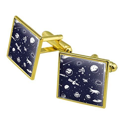 chettenknopf-Set, Motiv Weltraum mit Sternen, Planeten, Aliens, Astronauten, Weltraumschiffe, Hunde, quadratisch, goldfarben ()