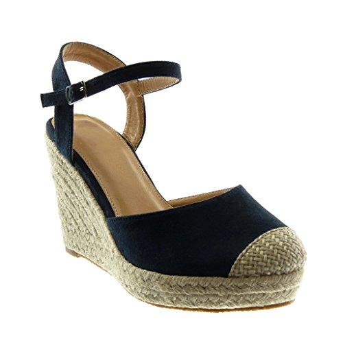 Angkorly - scarpe moda sandali espadrillas con cinturino alla caviglia zeppe donna corda intrecciato tanga tacco zeppa piattaforma 10 cm - blu 88-236 t 39