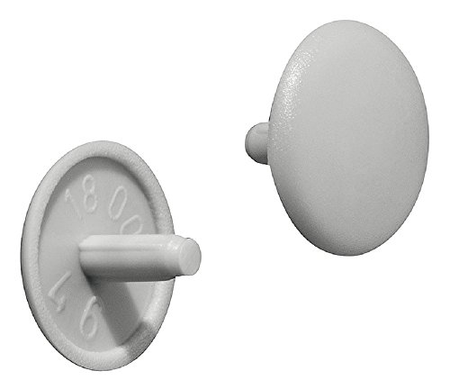 Gedotec Schrauben-Abdeckungen rund Möbel-Abdeckkappen Kunststoff Schrauben-Kappe grau RAL 7035 | Modell Nr. H1115 | Ø 12 x 2,5 mm | für Schrauben mit Kopflochbohrung PZ2 | 100 Stück