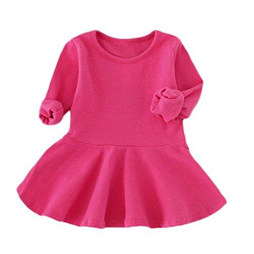 Neugeborene Kleidung Mädchen Süßigkeiten Farbe Lange Hülse Solide Prinzessin Beiläufig Kleinkind Kinder Kleid (110cm, Pink) (White Kinder-kleider)