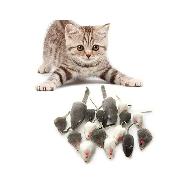 Souris en Peluche, PietyPet 16 Pièces Peluches Souris Jouets pour Chat Chaton Animaux Domestiques Toys - 3 Taille Différente
