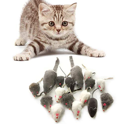 PietyPet Katzenspielzeug, Mäuse Spielzeug Mouse Katze Haustier Weich Flauschig für Katzen Kitty 16 Stück