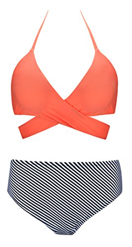 Angerella Frauen Gepolsterte Cross Bikini Set Badeanzüge Push-up Badeanzug Orange