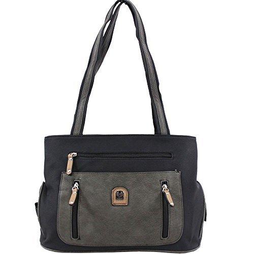 Haute für Diva S Neu Damen Kunstleder groß Einkaufstasche Schulter Handtasche - grau/taupe, Large Schwarz / Grau