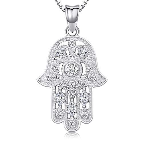 Aniu Halsketten für Frauen, Hamsa Hand der Fatima Silberkette Damen 925, Hand der Bösen Augen Anhänger mit Zirkonia, Geschenke für Freundin, Mama und Geburtstag mit 46cm Kette, Schmuck mit Geschenk -