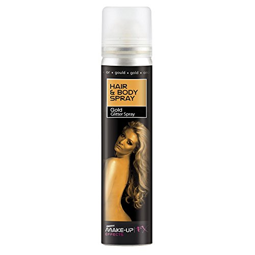 Smiffys Haar- und Body Spray, Glitzer, 75ml, Gold, 37795