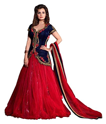 Ruby Fashion Laxmipathi Suit N Sarees Red Velvet Unstitched Unstitched Lehenga