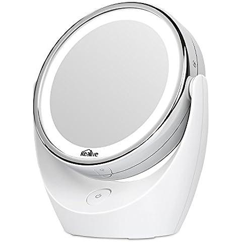 Kealive Specchio per Trucco Double Face Specchio Cosmetico Illuminato con Luci LED Ingradimento 1X / 5X 360° Girevole per Trucco, Camera da Letto, Rasatura e Viaggio