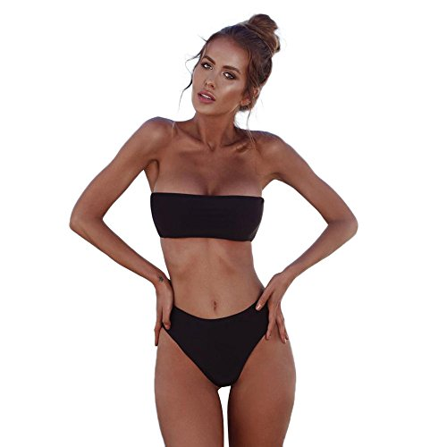 AmyGline Damen Bikini Set Push up Sling Bandage Bikini Trägerloser Bandeau Bikini Badeanzug Badebekleidung Bikinioberteil Swimsuits Bademode Bikinihosen Kittel-set