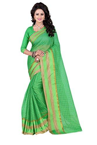 PerfectBlue Cotton Saree with Blouse Piece (I-00057_Green_Free Size)