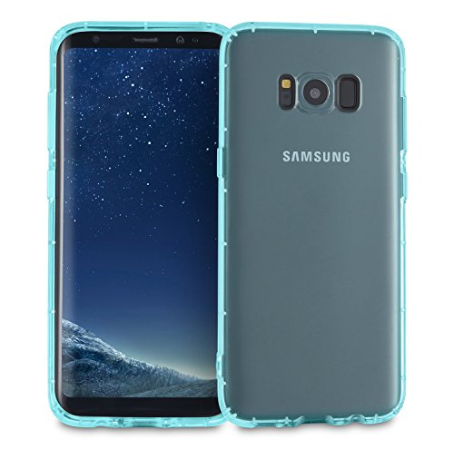 MyGadget Hülle TPU Case [Bumper Schutz] für Samsung Galaxy S8 (2017) - Crystal Clear & Stoßfest Schutzhülle - Silikon Back Cover Slim Handyhülle in Blau Crystal Clear Schutz