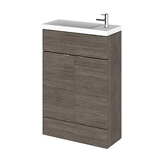 600mm Hudson Reed Grey Avola Compact Floor Standing Vanity Unit with Sink Basin Bathroom Furniture Storage