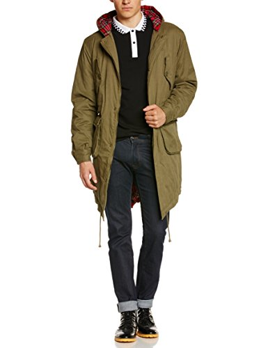 Merc of London Tobias - Manteau - Trench - Manches longues - Homme - Vert (Combat Green) - Small (Taille fabricant: S)