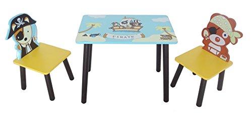 Kiddi Style Piraten Kindersitzgruppe - 1x Kindertisch & 2x Kinderstuhl - stylische Sitzgruppe & Kindersitzgruppe mit Tisch & Stühlen für Kinder