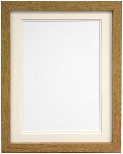Frames By Post H7Bilderrahmen mit elfenbeinfarbenem Doppel-Passepartout für Bildgröße 10x 15cm, weiß, a4-p, holz, eiche, A2 Image Size A3