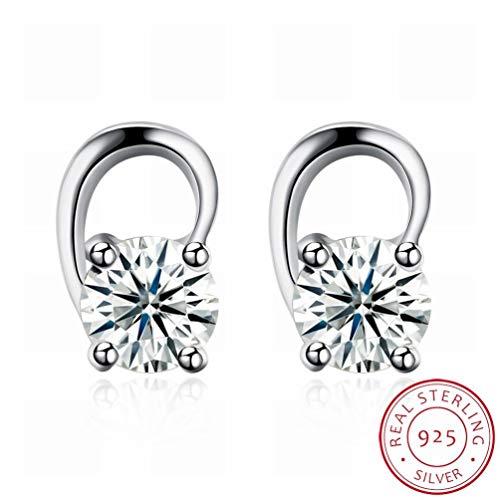 W-E Mode Thorn Ohrringe Silber Ohrringe Frauen/Edelstahl/Anti-Allergie/Silber Blinkt/Diamanten/White Crystal/Small und Exquisite/Crystal Transparent, Bildfarbe -