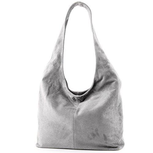 modamoda de - ital. Ledertasche Umhängetasche Schultertasche Damentasche Wildleder T150 Grau