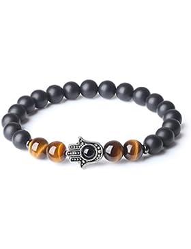 COAI® Geschenkidee Buddhistisches Gebetsarmband aus Eingeschliffenem Onyx und Gelbem Tigerauge mit Achat auf Hamsa...