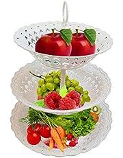 Inditradition 3 Layer Multipurpose Kitchen Storage Basket Rack   Space Saving Fruit & Vegetable Storage Baskets, Food-Grade Plastic, White